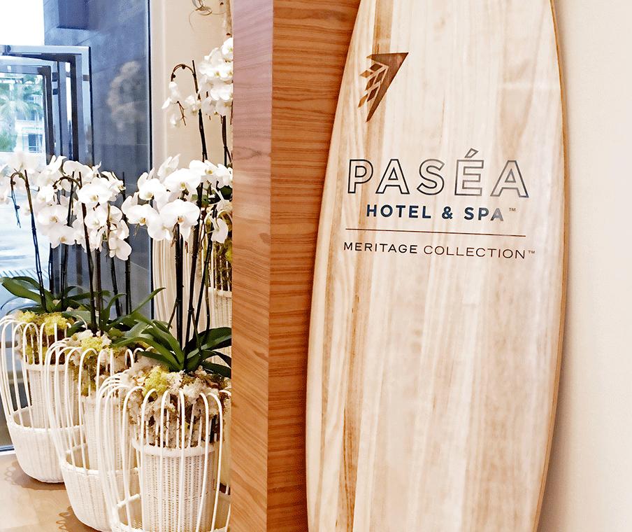 Wooden Surfboard in Lobby