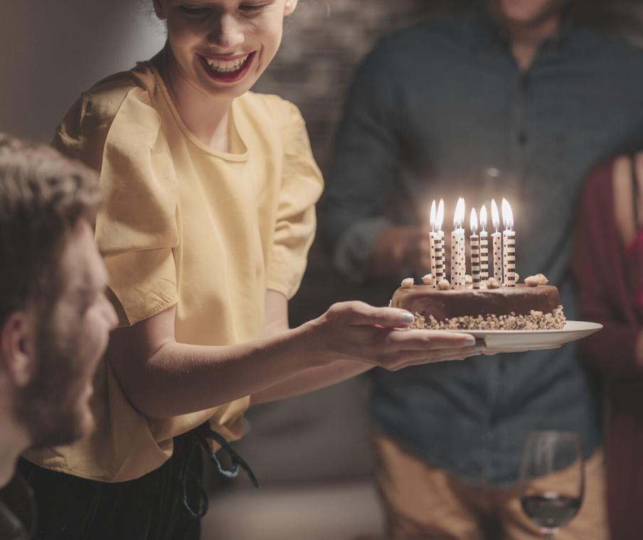 family celebrating missed birthday