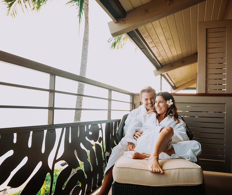 Bride and Groom on ocean lawn