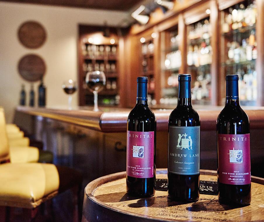 Wine Bottles at Trinitas Cellars Wine Bar