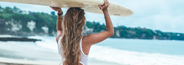 Girl with Surfboard on Huntington Beach