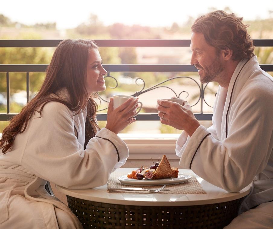 Breakfast on balcony at resort