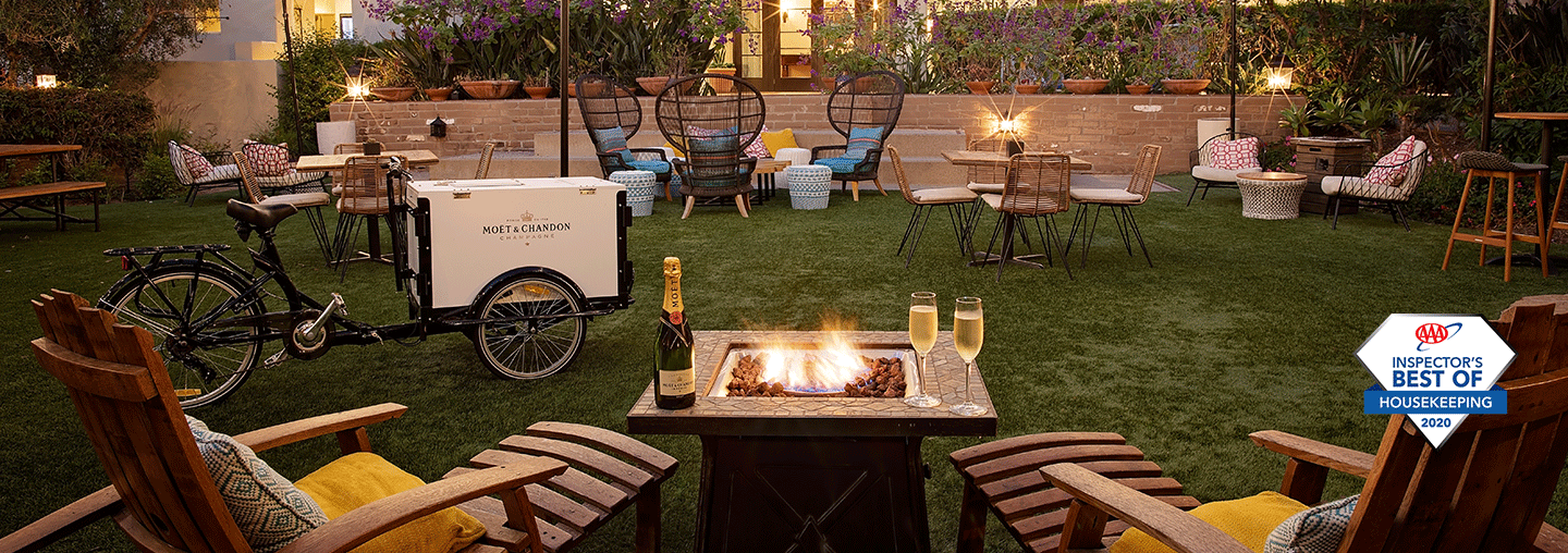 Outdoor garden seating with Moet champagne