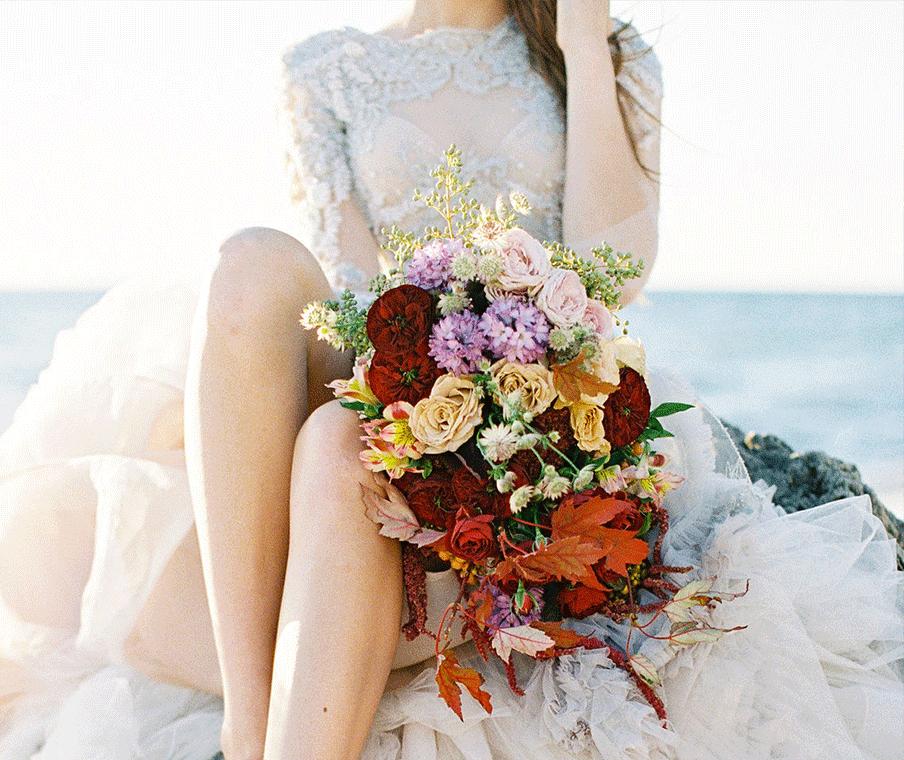 Bride on a rock
