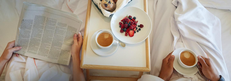 Breakfast in bed at resort