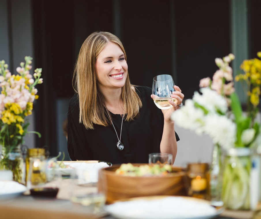Woman With Glass Of White Wine