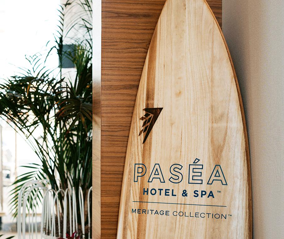 Surfboard in Hotel Lobby
