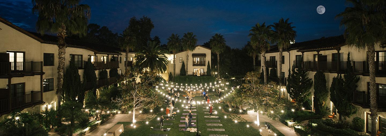 garden courtyard at night