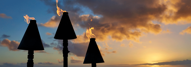 KKR Tiki Torches at Sunset