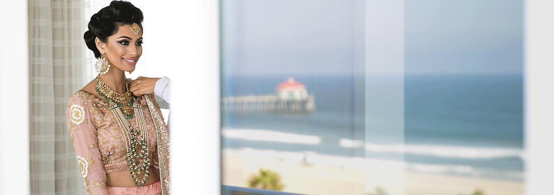 Bride with Ocean View of Pier