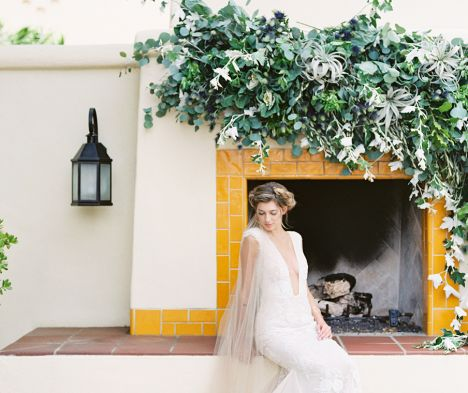 bride with greenery